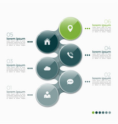 6 option infographic design with ellipses vector image vector image