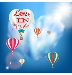 Hot air balloon in a heart shape EPS 10 vector image vector image