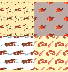 Meat products cartoon delicious seamless pattern vector