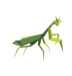 Origami green praying mantis vector image