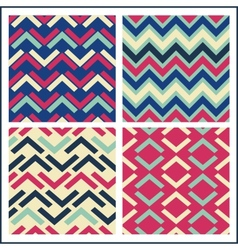 colorful geometric seamless pattern set retro vector image vector image