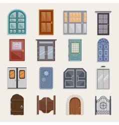 Door Icons Flat vector image
