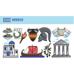 greece travel destination promotional poster with vector image vector image