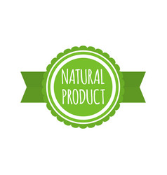 natural product badge round bio food logo vegan vector image vector image