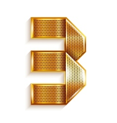 Number metal gold ribbon - 3 - three vector