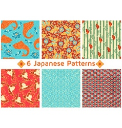 Set of six Japanese Patterns vector image vector image