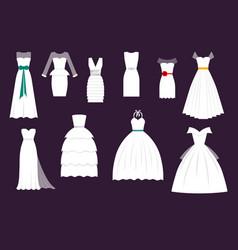 wedding white bride dress elegance fashion vector image vector image