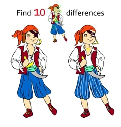 Find 10 differences pirate vector image