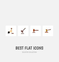 Flat icon lawyer set of defense tribunal hammer vector