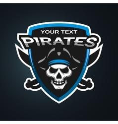 Pirate Skull emblem vector image