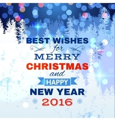 Christmas card with blue lights vector image vector image