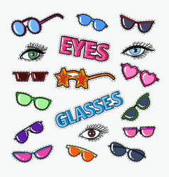 eyeglasses doodle with sunglasses and eyes vector image vector image