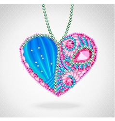 Heart of gems and ribbons vector image