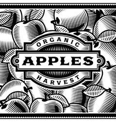 Retro Apple Harvest Label Black And White vector image vector image