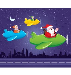 Santa and Elf in Aeroplane vector image