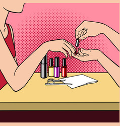 woman making manicure pop art style vector image vector image