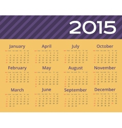 2015 year calendar Editable vector image