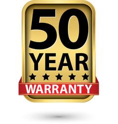50 year warranty golden label vector