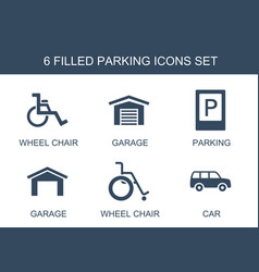6 parking icons vector