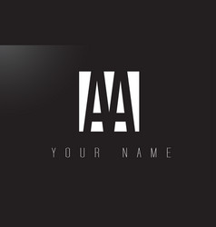 Aa letter logo with black and white negative vector