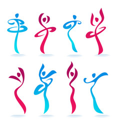 abstract dancing people women silhouettes for vector image
