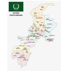 administrative map khyber pakhtunkhwa pakistan vector image