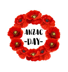 Anzac day memorial wreath icon of red poppy flower vector