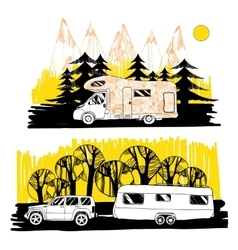 Autumn landscape with camper van motorhome vector
