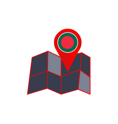 Bangladesh map pin is isolated country flag vector