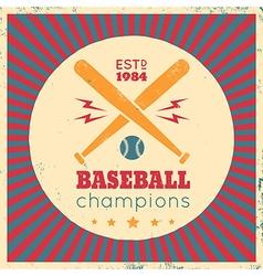 Baseball vintage poster red vector