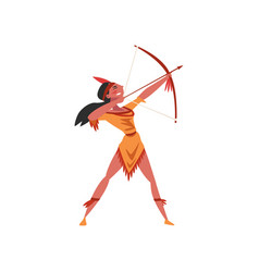 Beautiful native american indian girl aiming vector