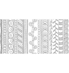 beautiful seamless brushes for coloring book arts vector image