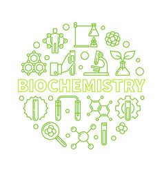 Biochemistry concept outline green round vector
