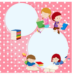 Border template with many children reading books vector