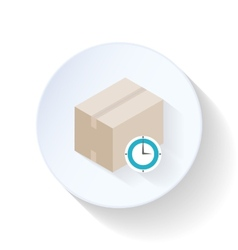 Box with clock flat icon vector image