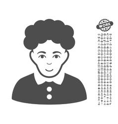 Brunette Woman Icon With Bonus vector