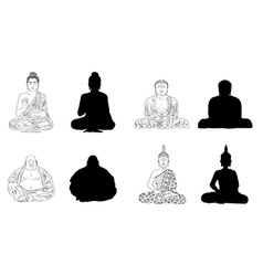 Buddha black outline silhouettes vector