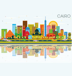 cairo skyline with color buildings blue sky and vector image