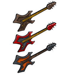 cartoon colored electric metal rock guitar set vector image