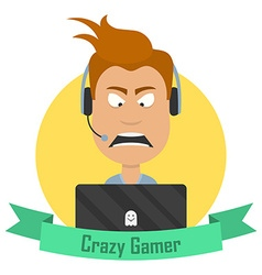 Cartoon Crazy Gamer Angry man with a laptop or a vector
