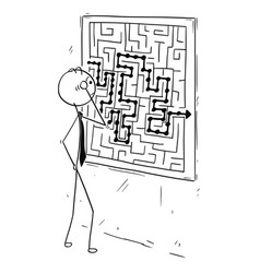 Cartoon of businessman looking at maze on wall vector