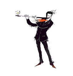 Close-up of man holding flute vector