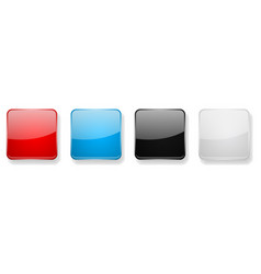 Colored glass 3d buttons square icons vector