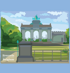 colorful triumphal arch in the park in brussels vector image