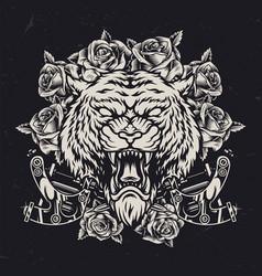 Cruel tiger head vintage concept vector