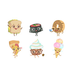 cute funny food characters set sandwich sushi vector image