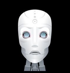 cyborg with big blue eyes on a black background vector image