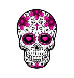 day dead skull sugar flower tattoo vector image