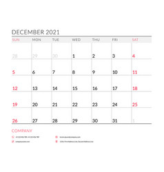 December 2021 monthly calendar planner printable vector