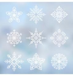 Decorative snowflakes set vector image